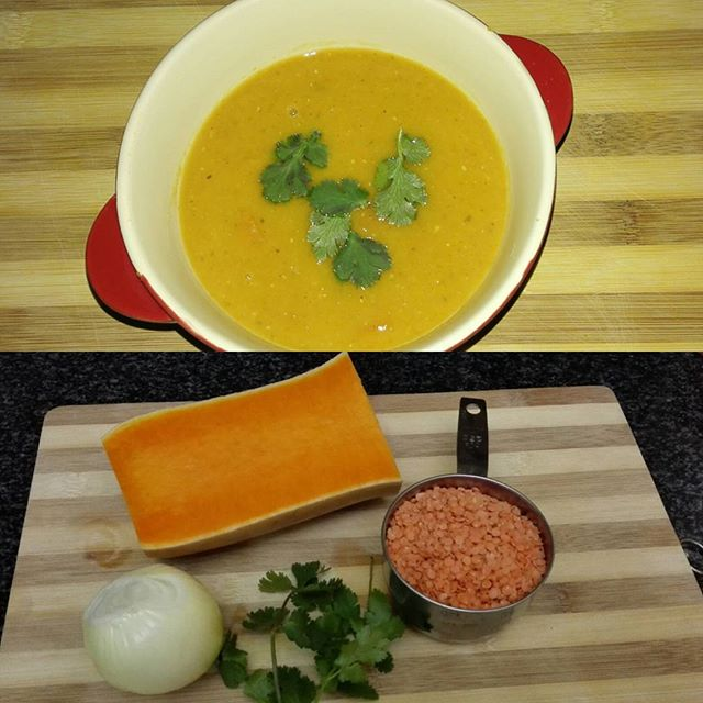 Butternut and Lentil Soup with ingredients
